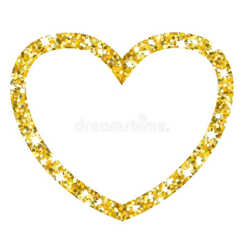 Gold frame heart on white. Golden heart. Gold frame and a heart for design of holiday greeting cards. Template for Valentine Day, New Year, Christmas. Flat vector illustration