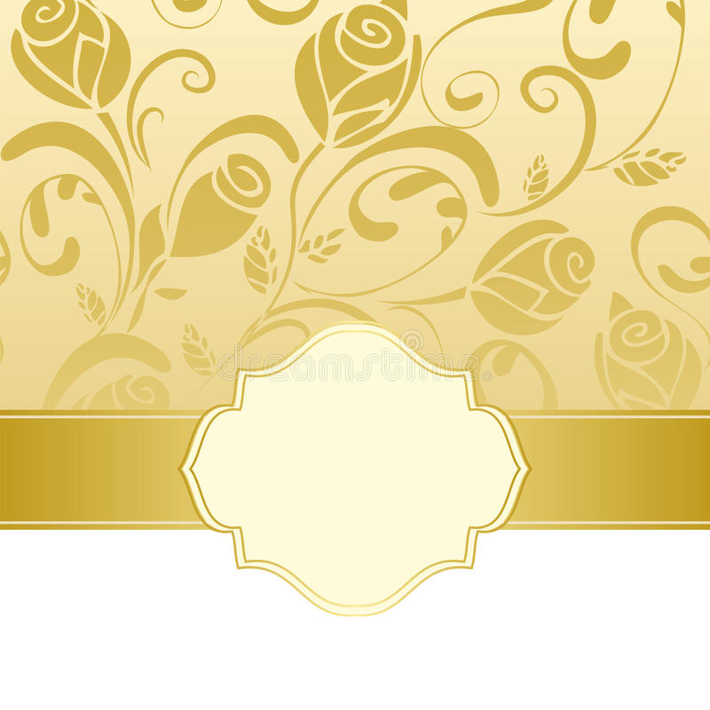 Gold frame invitation vector illustration