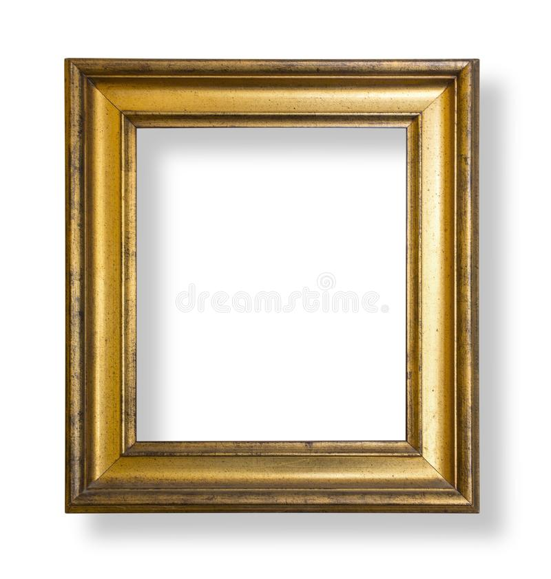 Gold frame isolatd. Gold frame. Gold/gilded arts and crafts pattern picture frame. with clipping path stock photo