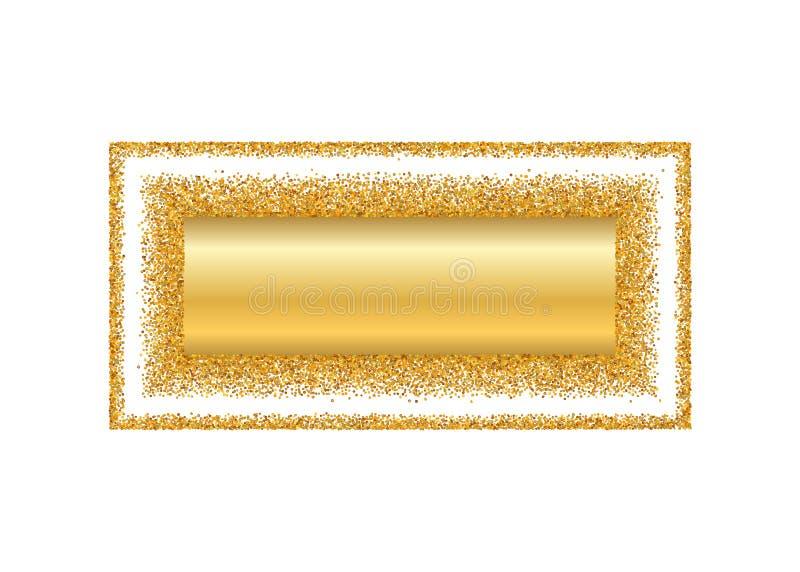 Gold frame isolated white background. Golden glitter confetti texture. Gold square border, shiny gradient. Light dust vector illustration