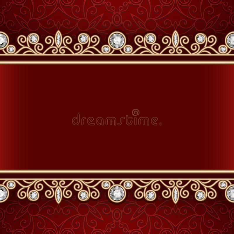 Gold frame with jewelry borders on red background vector illustration