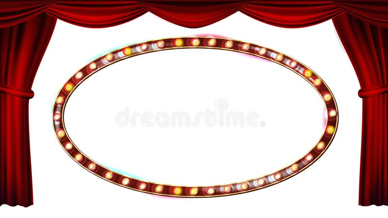 Gold Frame Light Bulbs Vector. Isolated On White Background. Red Theater Curtain. Silk Textile. Shining Retro Light. Banner. Realistic Illustration stock illustration