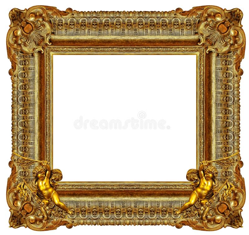 Gold frame. Gold picture with angels on white background stock photography