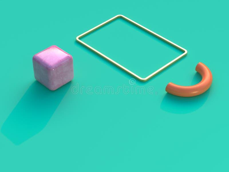 Gold frame pink cube orange semicircle 3d rendering green flat background stock illustration