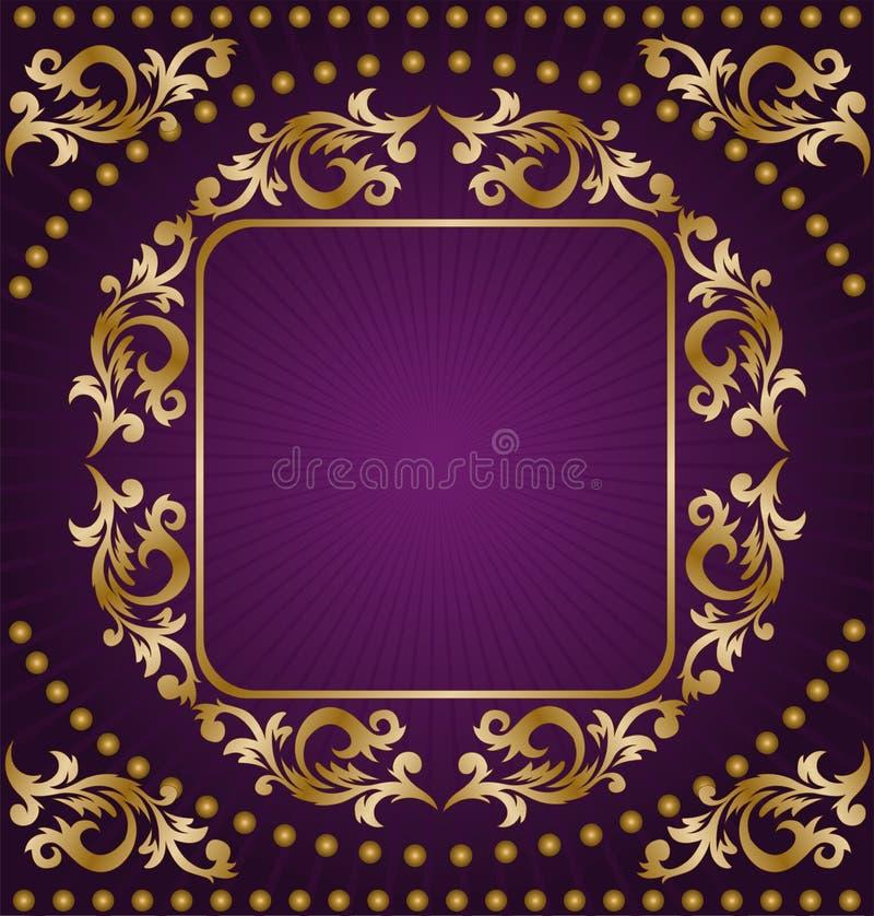 Gold frame on purple background vector illustration