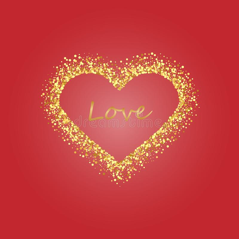 Gold frame of scatter confetti in the shape of heart. Border design element for festive banner, greeting card, postcard stock illustration