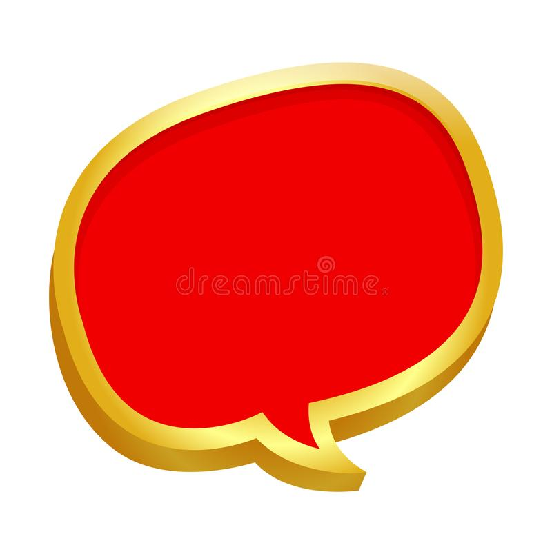 Gold frame speech bubble red on banner sale white for copy space text, frame speech bubble drawn cartoon doodle, comic speech. The gold frame speech bubble red stock illustration