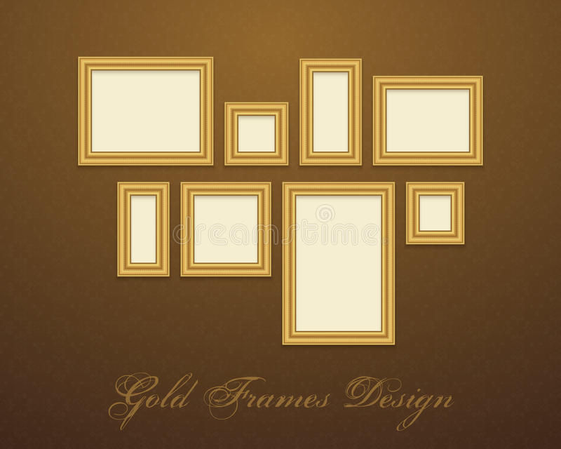 Gold Frame for text, picture, photo or your design stock illustration