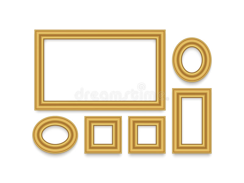Gold Frame for text, picture, photo or your design. vector illustration