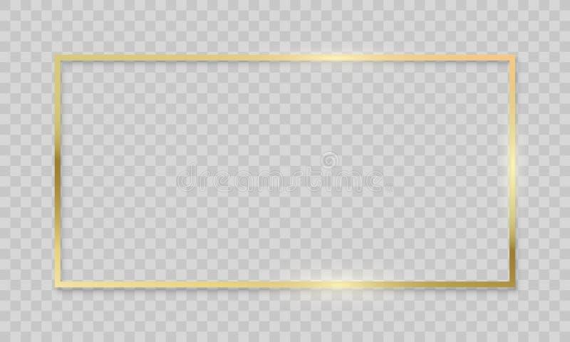 Gold frame on transparent background. Vector realistic isolated golden shiny border frame royalty free illustration