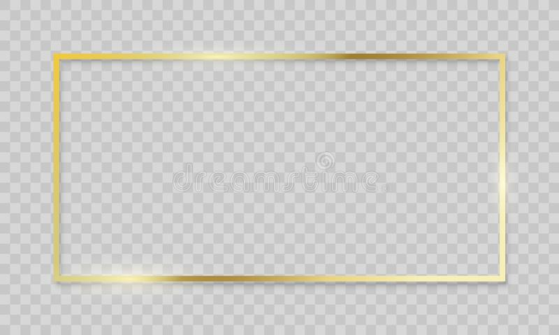 Gold Frame Vector Realistic Golden Border On Transparent