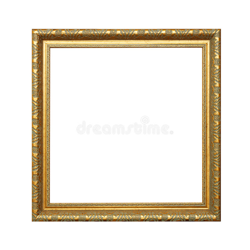 Gold Frame on white background with clipping path stock photos