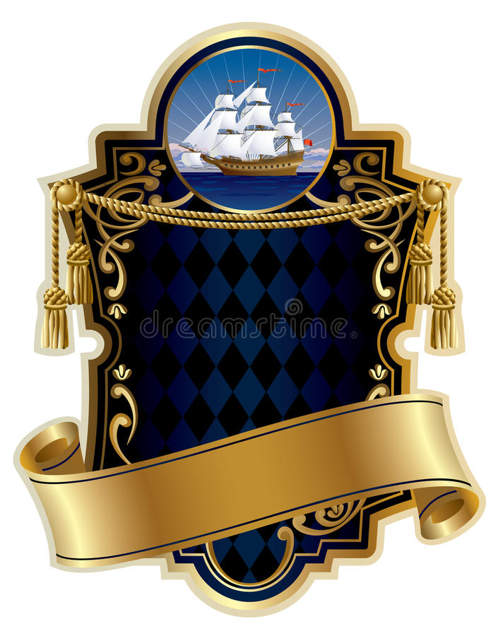 Gold-framed label with a ship vector illustration