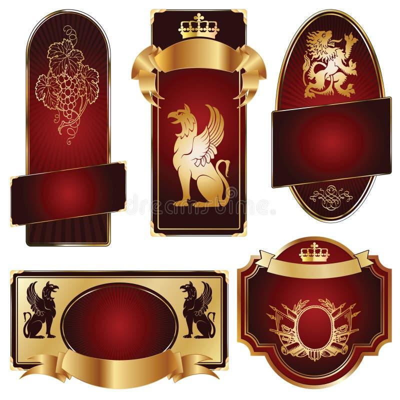 Gold-framed labels royalty free stock images
