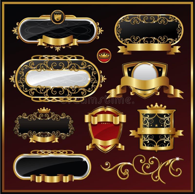 Gold framed labels stock illustration