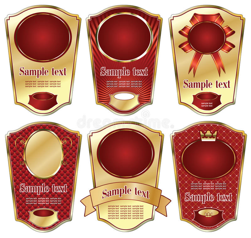 Download Gold-framed Labels On Different Topics Stock Vector - Image: 11889561