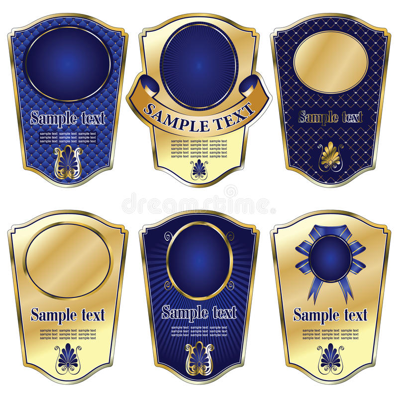 Gold-framed labels on different topics. Vector set: gold-framed labels on different topics stock illustration