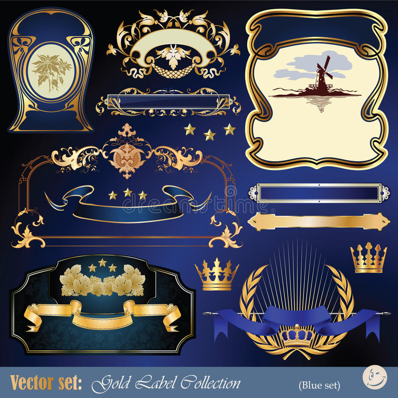 Download Gold-framed Labels, Ribbon, Ornaments And Elements Stock Vector - Image: 19803175