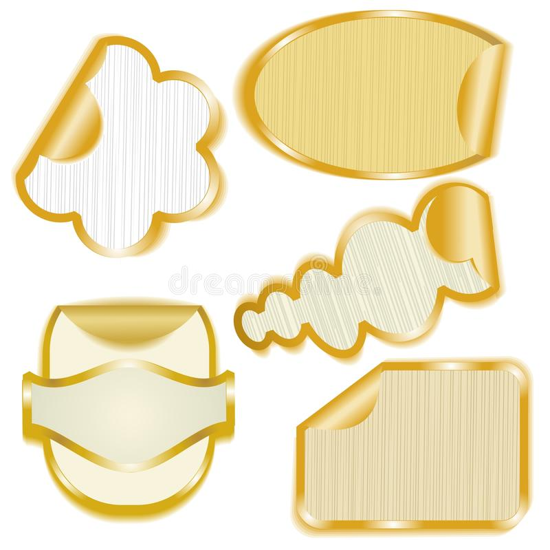 Gold framed paper stickers with peeling corners vector illustration