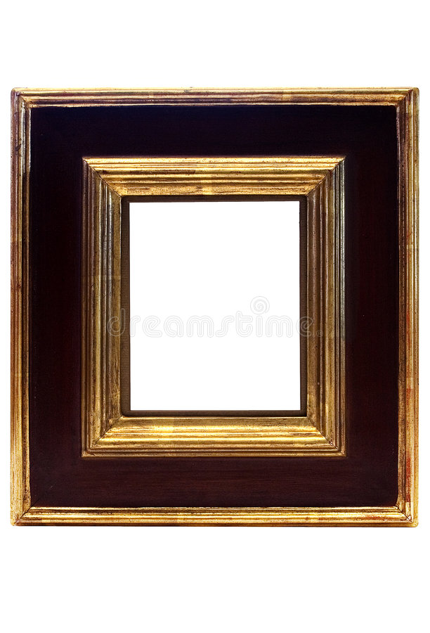 Gold Framed Picture Frame w/ Path. Wooden gold framed picture frame to put your photos in. File contains clipping path stock photos