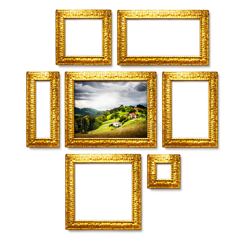 Gold frames stock image. Image of collage, luxury, creativity - 50507571