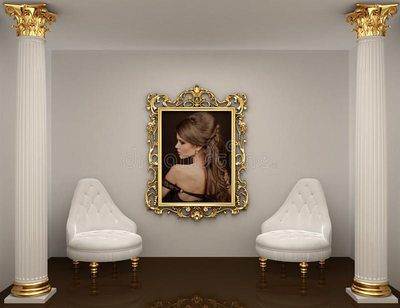 Gold frames with picture of woman on the wall vector illustration