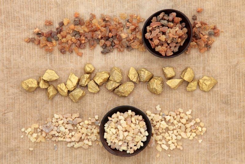Gold Frankincense and Myrrh royalty free stock image