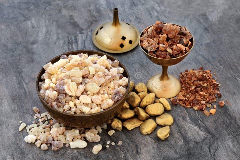 Gold Frankincense and Myrrh stock image