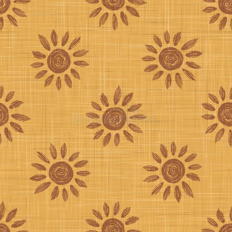 Gold French Linen Texture Background print met Brown Daisy Sunflower Natuurlijke kleurstof Ecru-vlasvezel naadloos patroon Organi stock illustratie