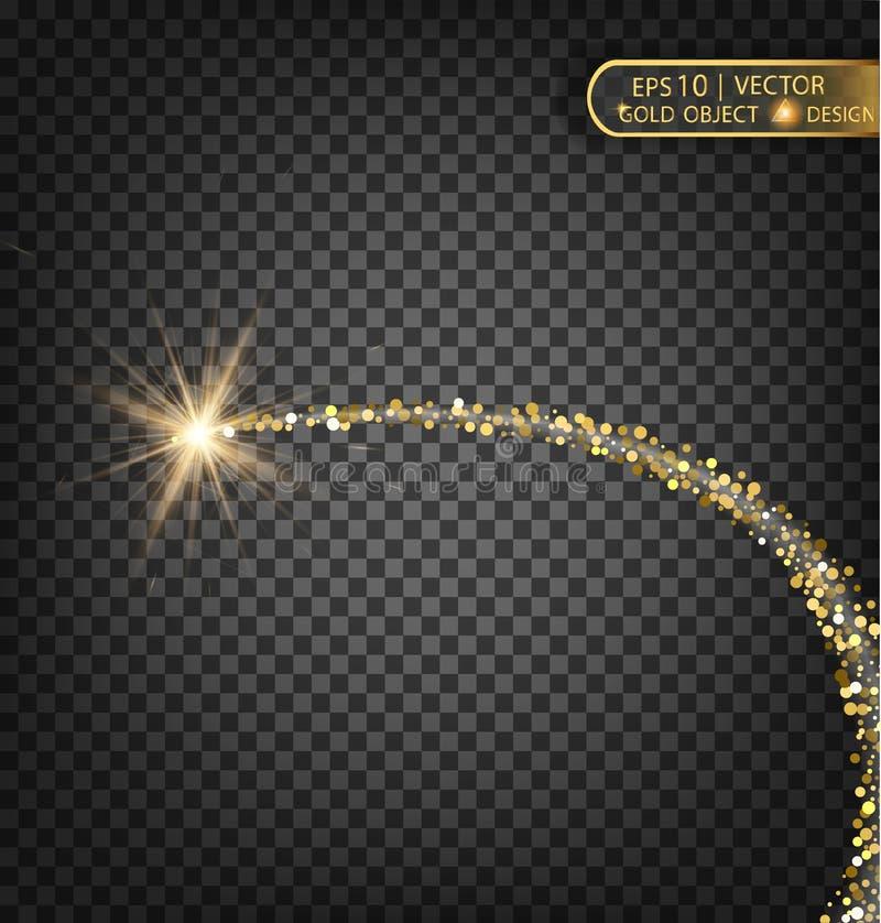 Gold funkelt auf einem transparenten Hintergrund Goldhintergrund mit Scheinen Goldhintergrund für Karte, vip, Exklusives, Zertifi lizenzfreie abbildung