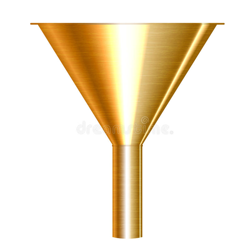 Gold funnel vector illustration
