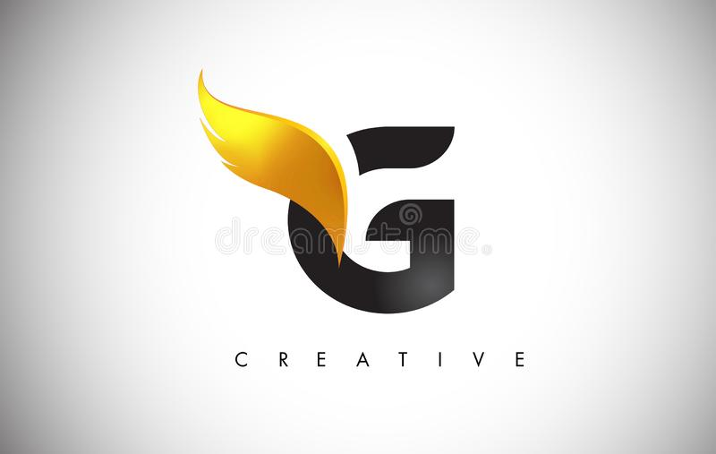 Gold G Letter Wings Logo Design with Golden Bird Fly Wing Icon royalty free illustration