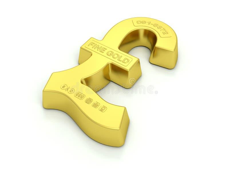 Gold GBP Bullion. The Pound symbol made into a gold ingot or bullion with assay marks royalty free illustration