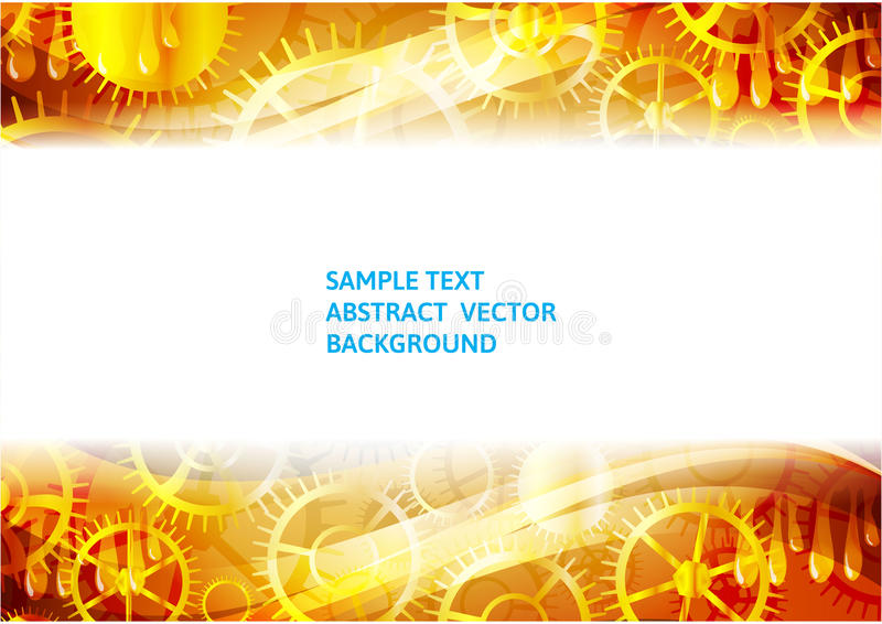 Gold gears abstract technology vector background with copy-space stock illustration