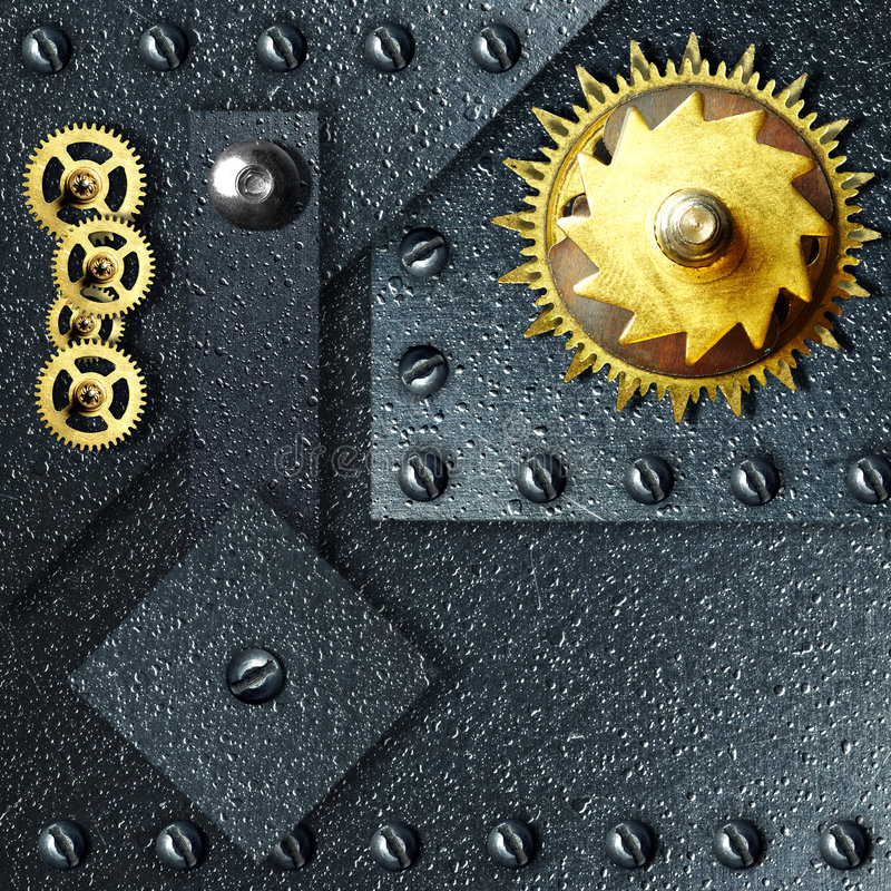 Download Gold Gears Against Ferrous Metal Stock Image - Image of machinery, titanium: 8392893