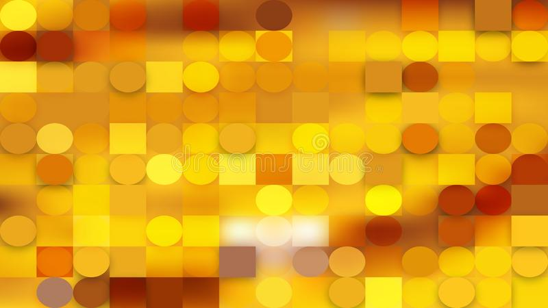Gold Geometric Circles and Squares Background stock illustration