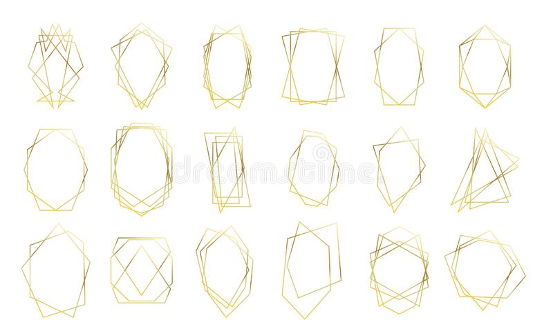 Gold geometric frames wedding invitation card golden diamond shapes. Vector premium luxury gold frames stock illustration