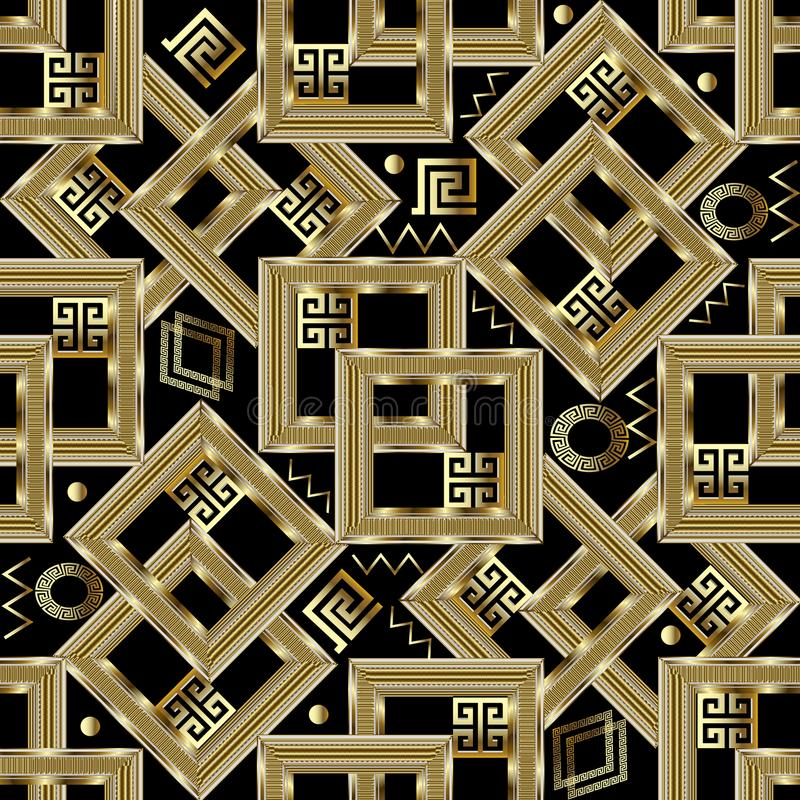 Gold geometric greek key seamless pattern. Square gold 3d meanders background. Intricate ornaments with figured surface frames, c stock illustration
