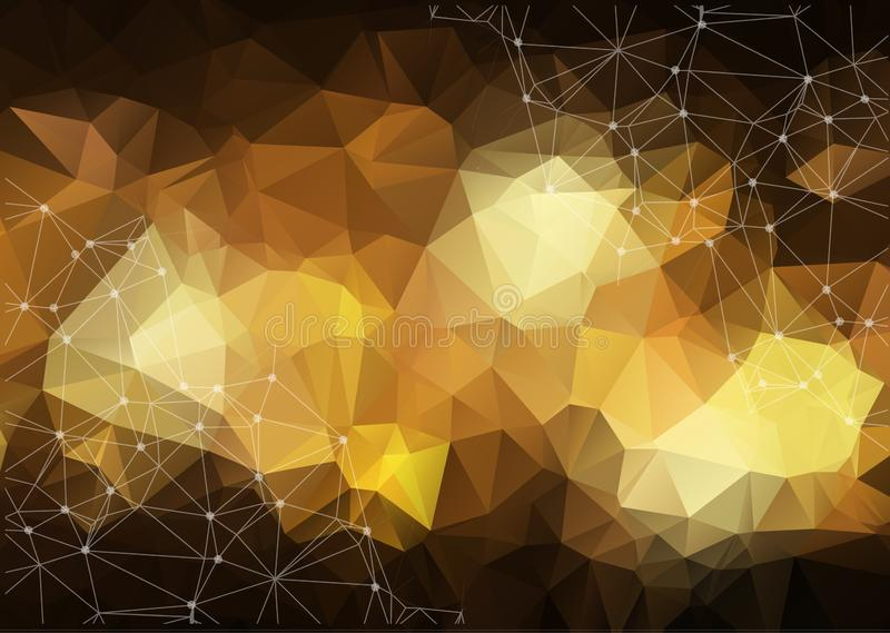 Gold Geometric Low Poly Vector Background. Shiny Metallic Faceted Pattern. Golden Light Triangle Sparkles in the Dark. stock illustration