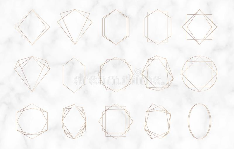 Gold geometric polygonal frames. Decorative lines borders. Luxury design elements for wedding invitation, blog posts, banner, cele royalty free illustration