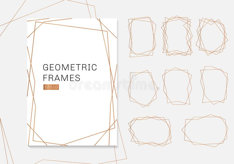 Gold geometric polyhedron frames collection. luxury templates art deco style for wedding invitation stock illustration