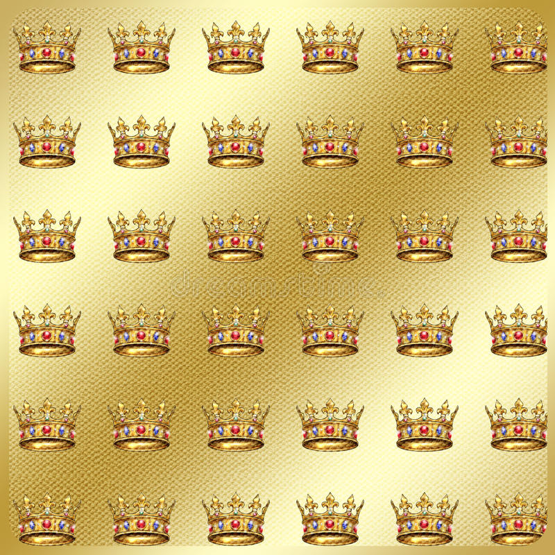 Gold geometric textile pattern. Gold geometric vintage pattern with crown on gold textile background in gold frame. Vintage, textile. Digital illustration royalty free illustration
