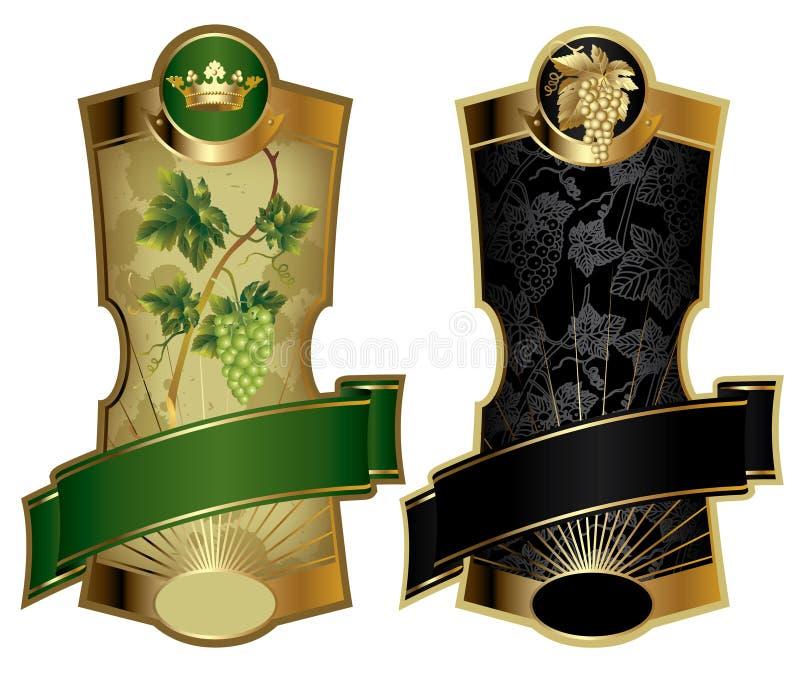 Gold-gestaltete Weinkennsätze stock abbildung