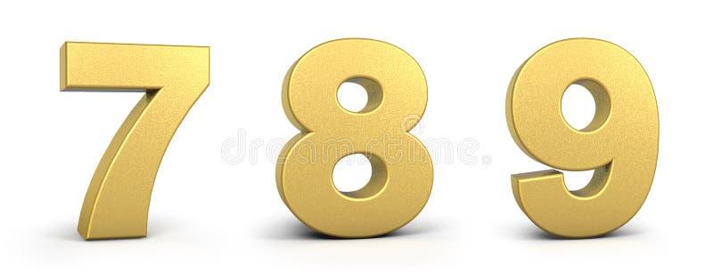 Gold-getal op witte achtergrondillustratie 3D rendering, golden number, golden font royalty-vrije illustratie