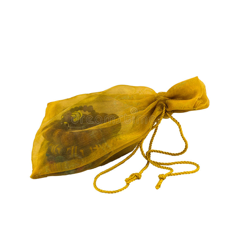 Gold gift bag stock photography