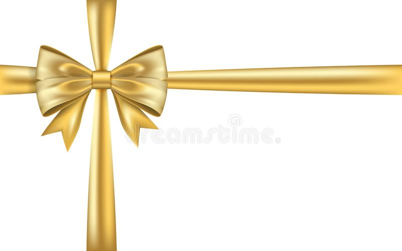 Gold gift bow ribbon. Golden bow tie isolated on white background. 3D shiny gift bow tie for Christmas present, holiday. Decoration, birthday. Silk ribbon for vector illustration