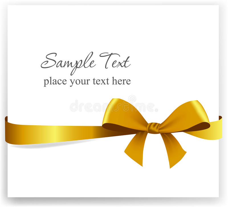 Gold gift bow with ribbons stock photography