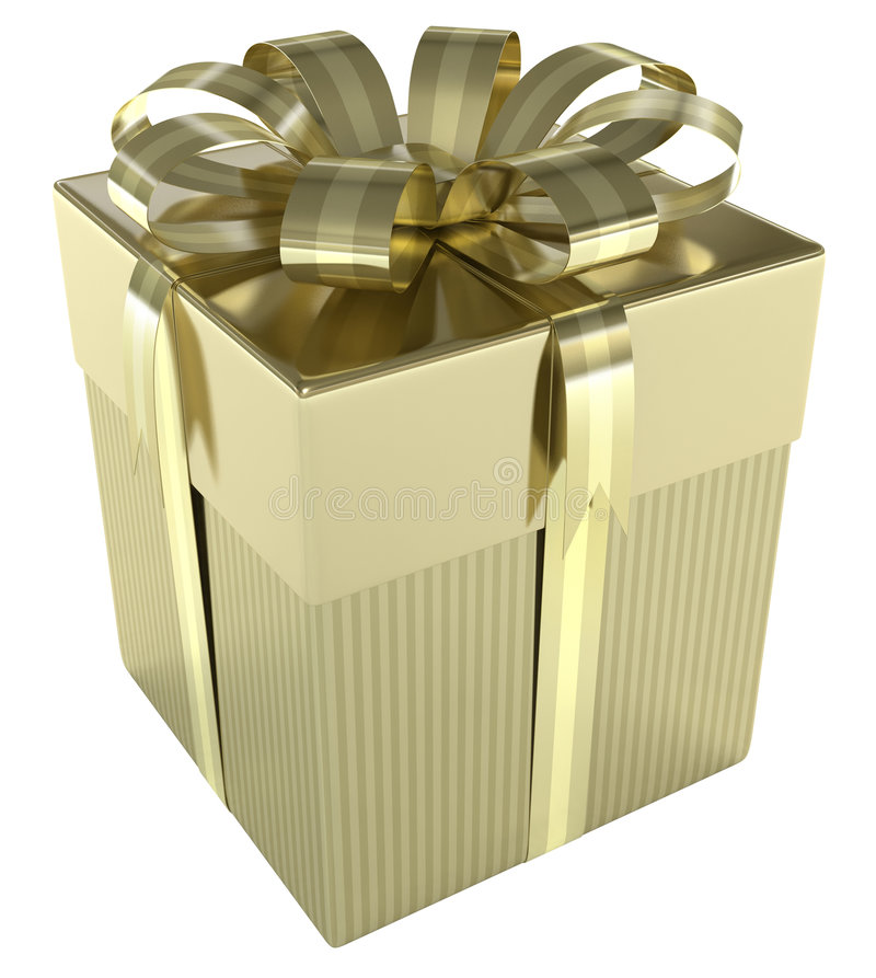 Gold Gift Box. Luxury of gift box. Concept of christmas, wedding and birthday royalty free stock photos