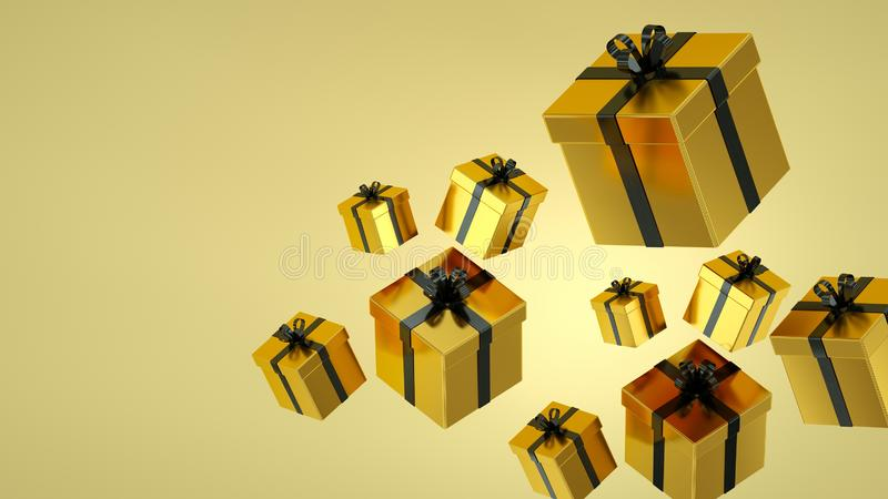 Gold gift boxes with black ribbon on black background. 3D rendering. High Quality Render stock illustration