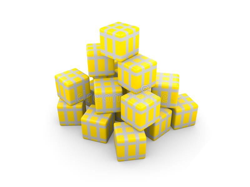 Download Gold Gift Boxs With Silver Ribbons Stock Illustration - Image: 17488167